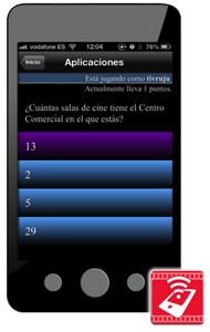 Logo de WhatsCine sobre una pantalla real de móvil