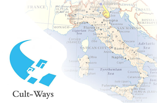 Imagen ilustrativa para el proyecto Cult-Ways, logotipo junto a mapa de Roma difuminado