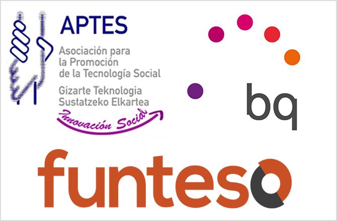 Logotipos de Aptes (Asociación para la promoción de la tecnología social), bq y funteso