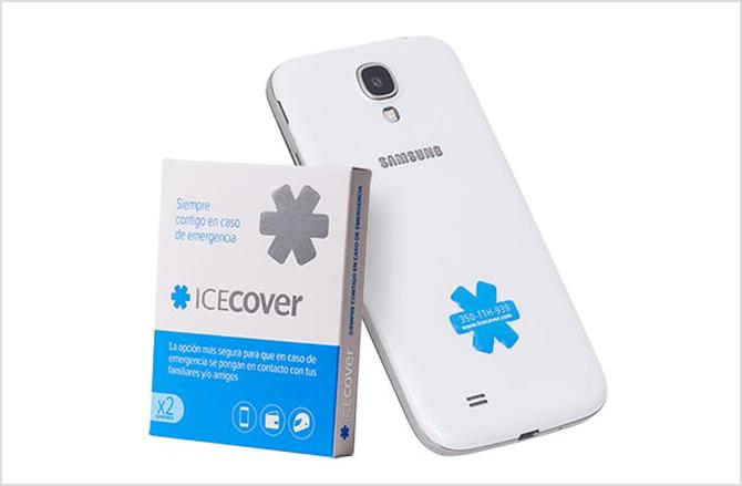 Icecover, caja junto a teléfono móvil