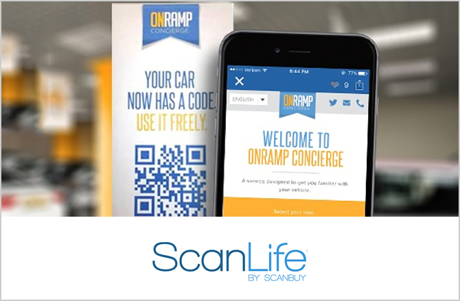 Imagen ilustrativa de ScanLife, código QR junto a un teléfono móvil