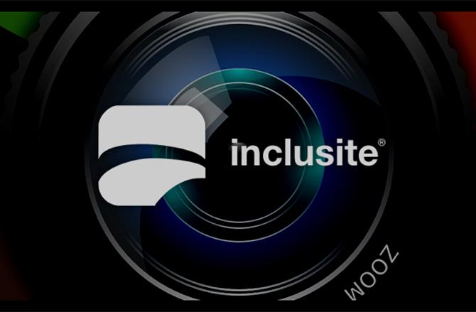 Logotipo con imagen de fondo ilustrativa (objetivo de cámara) de inclusite